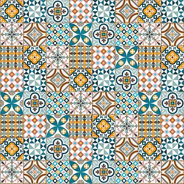 Patchwork pattern - colorful tile design   by ohaniki