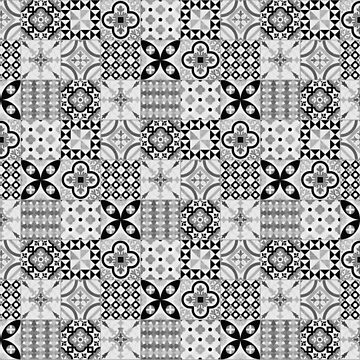 Patchwork pattern - black and white tile design  by ohaniki