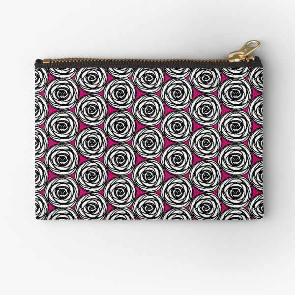 Black and White Rose Zipper Pouch
