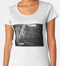 Black and White Cowgirl Boots Women's Premium T-Shirt
