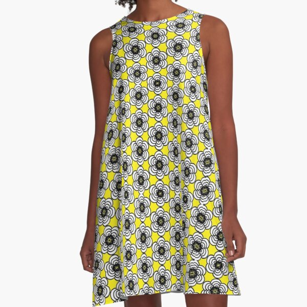 Yellow and Black Flowers A-Line Dress