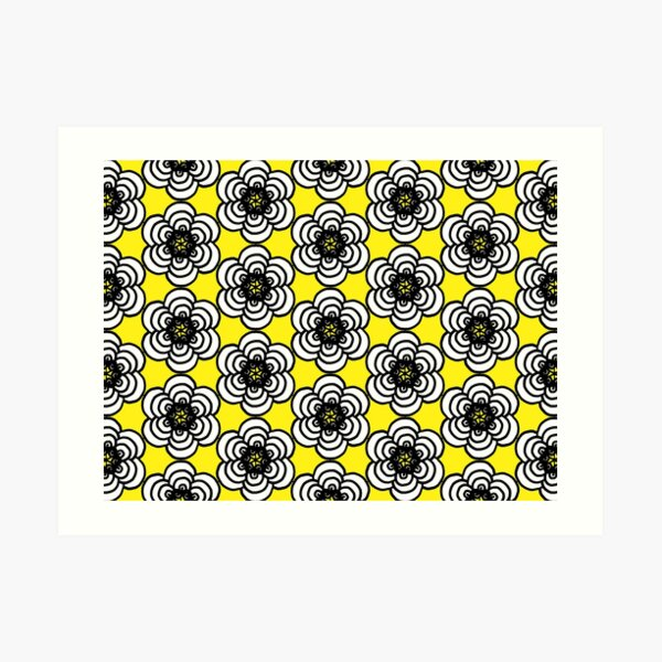 Yellow and Black Flowers Art Print