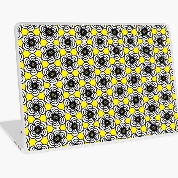 Yellow and Black Flowers Laptop Skin