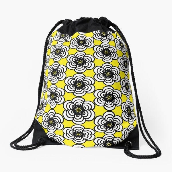 Yellow and Black Flowers Drawstring Bag