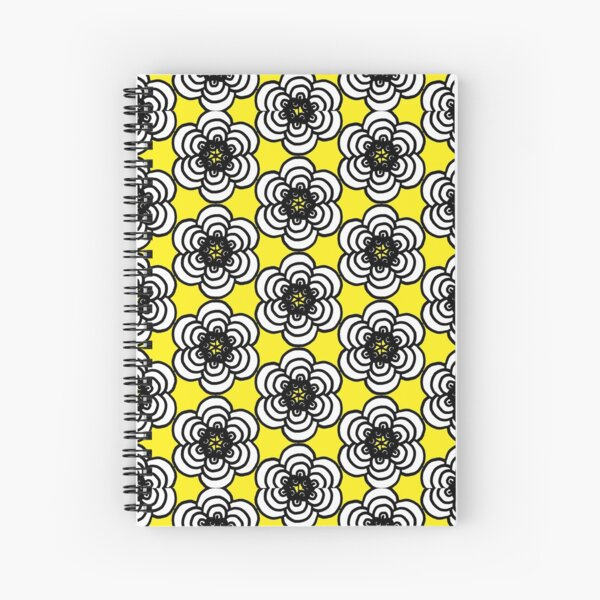 Yellow and Black Flowers Spiral Notebook