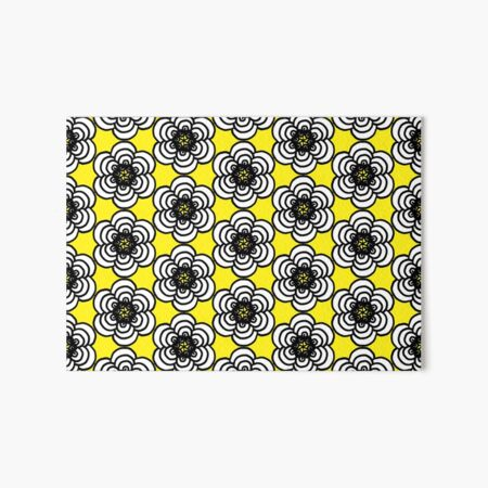 Yellow and Black Flowers Art Board Print