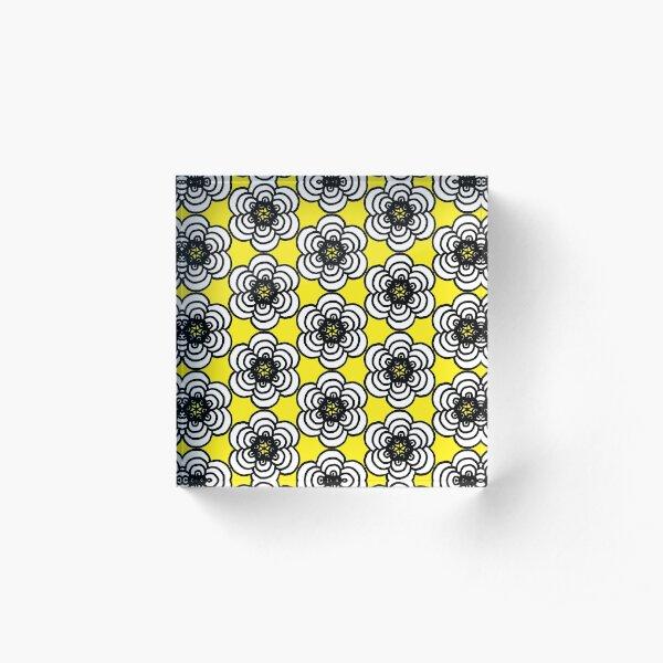 Yellow and Black Flowers Acrylic Block