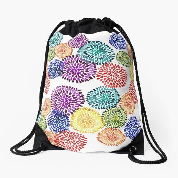 Dancing Dahlias Drawstring Bag