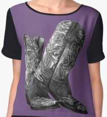 Knockout Cowgirl Boots Chiffon Top