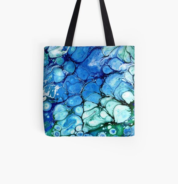 Blue Bubbles All Over Print Tote Bag