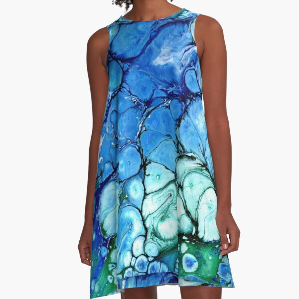 Blue Bubbles A-Line Dress