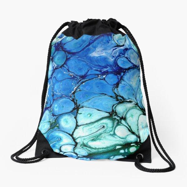 Blue Bubbles Drawstring Bag