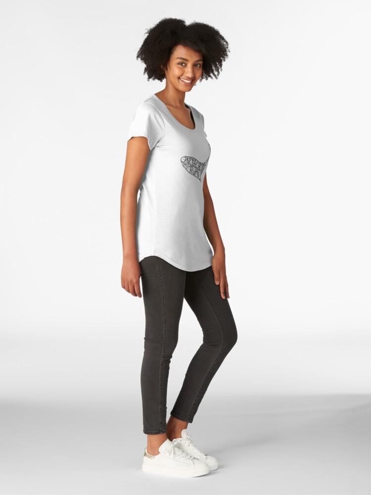 Alternative Ansicht von Schattenbild des Wals mit Blumenverzierung Premium Rundhals-Shirt