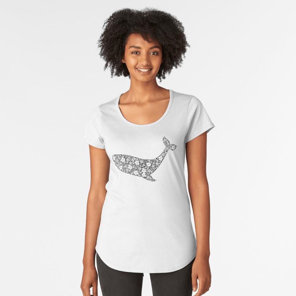 Schattenbild des Wals mit Blumenverzierung Premium Rundhals-Shirt