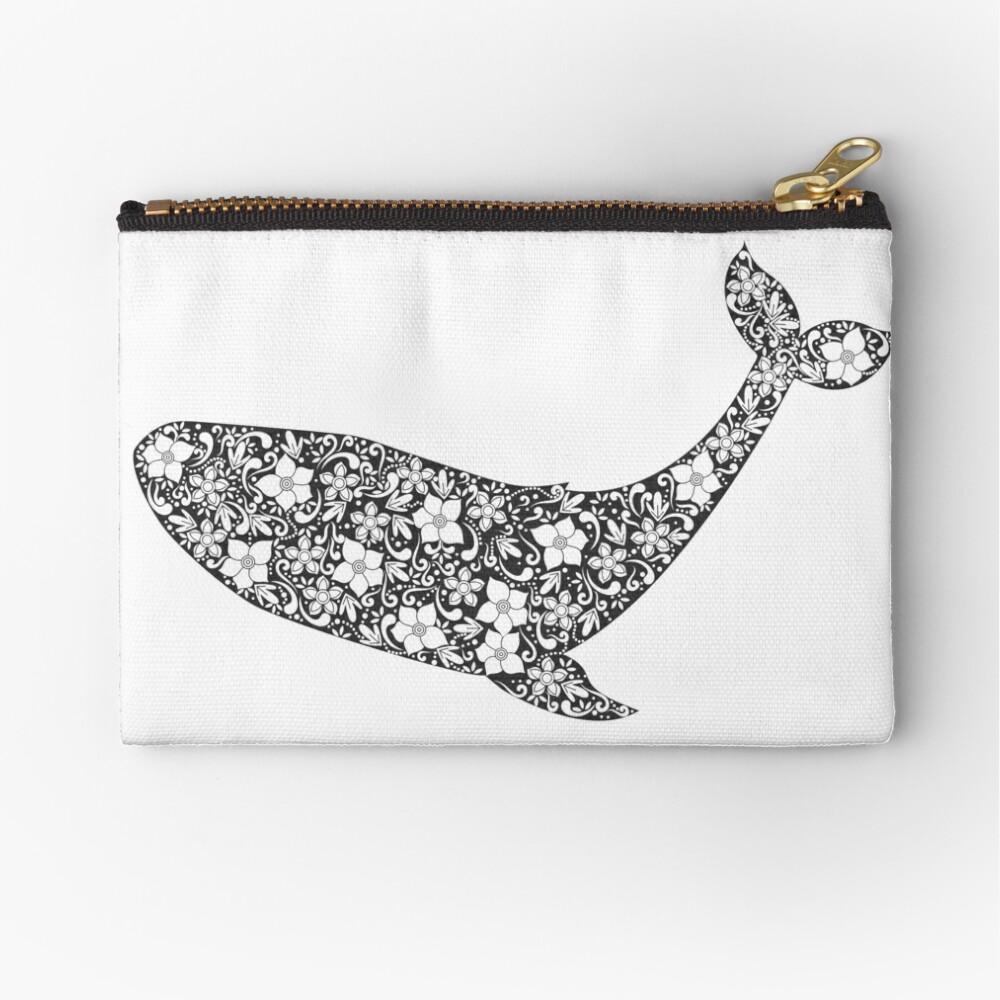 Schattenbild des Wals mit Blumenverzierung Täschchen