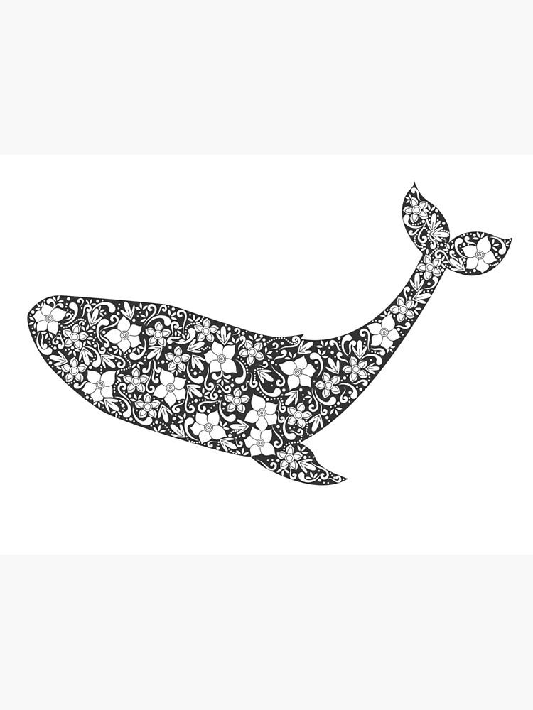 Schattenbild des Wals mit Blumenverzierung von Viktoriia