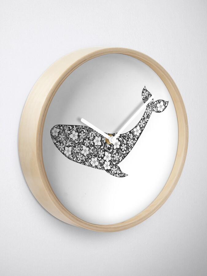 Alternative Ansicht von Schattenbild des Wals mit Blumenverzierung Uhr