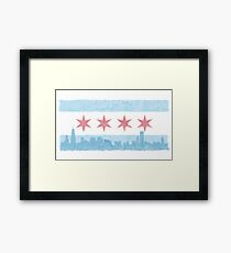 Chicago Flag and Skyline - Watercolor Framed Print