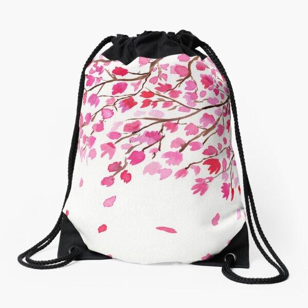 Rain of Cherry Blossoms Drawstring Bag