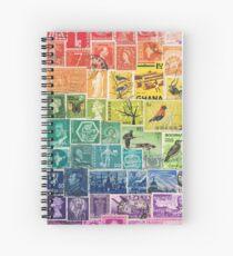 Rainbow Postage Stamps Spiral Notebook