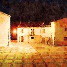 Borrello: buildings at night by Giuseppe Cocco