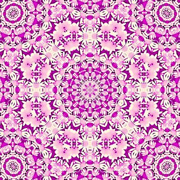 Simply Yellow Double Kaleidoscope Neon Pink by DAWNESROMEO