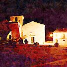 Borrello: boys sitting in front of the church at night by Giuseppe Cocco
