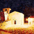 Borrello: church at night by Giuseppe Cocco