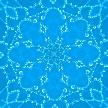 Jewels Kaleidoscope Neon Sky Blue by DAWNESROMEO
