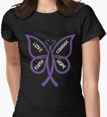 Camiseta entallada para mujer Camisa de la mariposa de la conciencia del  lupus f4fd68be4832f