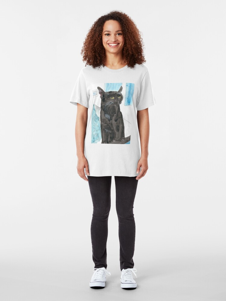 Alternate view of Davy Crockett, Cool Black Cat Slim Fit T-Shirt