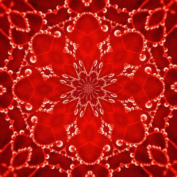 Jewels Kaleidoscope Neon Red by DAWNESROMEO