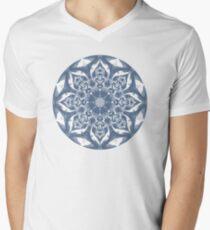 Denim Blue and White Mandala Men's V-Neck T-Shirt