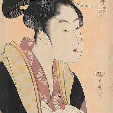 Vintage Japanese Ukiyo-e Woodblock Print Woman Portrait II by VintageArchive