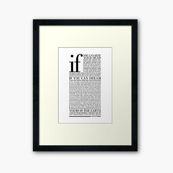 If by Rudyard Kipling (Black) Framed Art Print