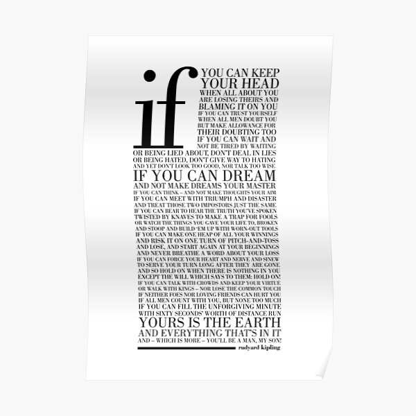 If by Rudyard Kipling (Black) Poster