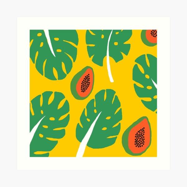 leaves, papayas, yellow background Art Print