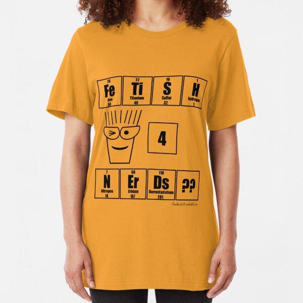 FeTiSH 4 NErDs? - Black Text Slim Fit T-Shirt