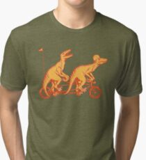Cycling raptors on tandem bicycle Tri-blend T-Shirt