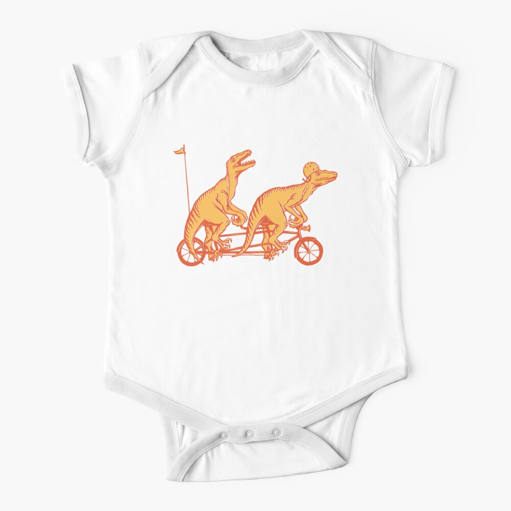 Cycling raptors on tandem bicycle Baby One-Piece