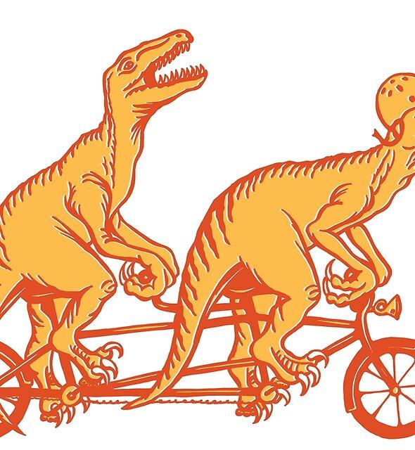 Radfahren Raptoren auf Tandem-Fahrrad von Amélie  Legault
