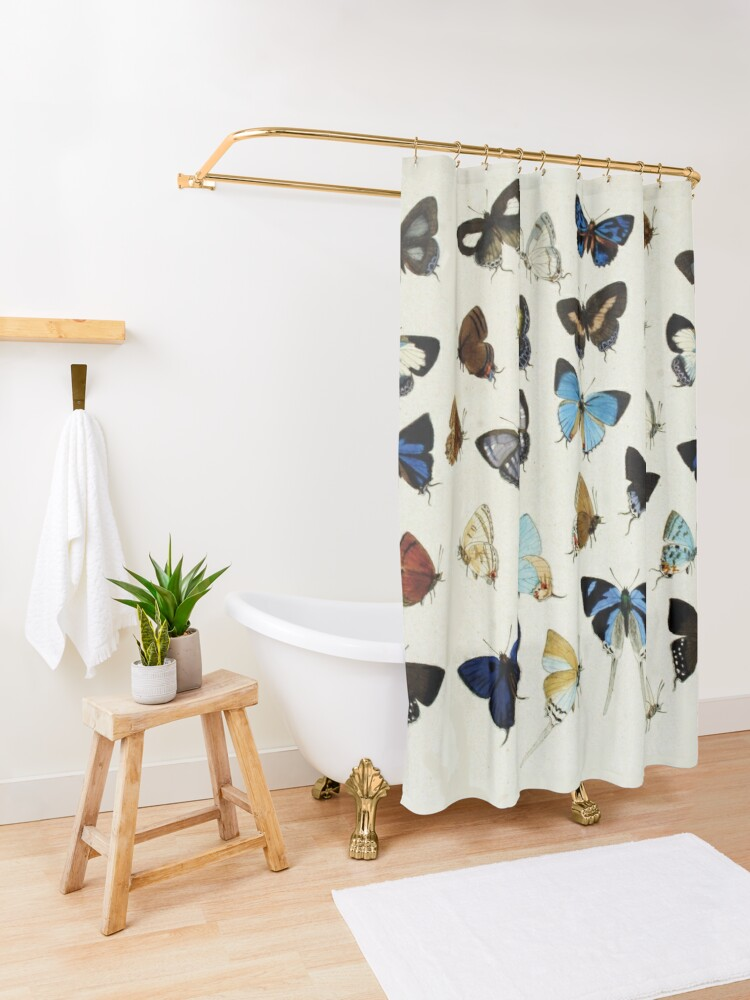 Alternate view of COLORFUL BUTTERFLIES Blue White Beauty Nature Collection Shower Curtain