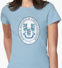 CONNECTICUT STATE SEAL - POPULAR DISTRESSED STATE DESIGN WITH CONNECTICUT STATE SEAL Women's Fitted T-Shirt