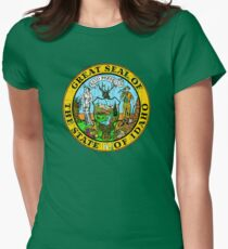 IDAHO STATE SEAL - POPULAR DISTRESSED STATE DESIGN WITH IDAHO STATE SEAL Women's Fitted T-Shirt