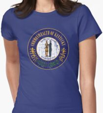 KENTUCKY STATE SEAL - POPULAR DISTRESSED STATE DESIGN WITH KENTUCKY STATE SEAL Women's Fitted T-Shirt