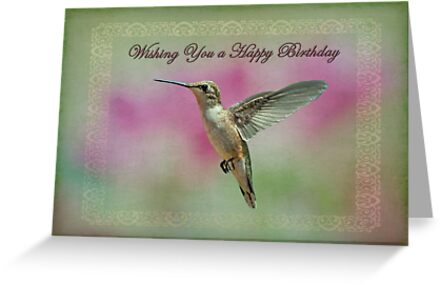 Happy birthday hummingbird greeting cards by bonnie t barry happy birthday hummingbird by bonnie t barry m4hsunfo