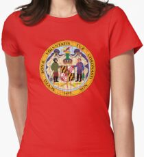MARYLAND STATE SEAL - POPULAR DISTRESSED STATE DESIGN WITH MARYLAND STATE SEAL Women's Fitted T-Shirt