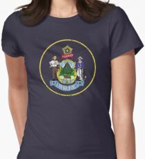 MAINE STATE SEAL - POPULAR DISTRESSED STATE DESIGN WITH MAINE STATE SEAL Women's Fitted T-Shirt