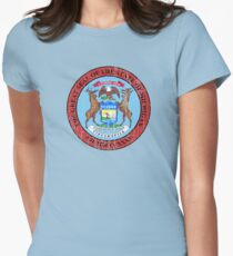 MICHIGAN STATE SEAL - POPULAR DISTRESSED STATE DESIGN WITH MICHIGAN STATE SEAL Women's Fitted T-Shirt