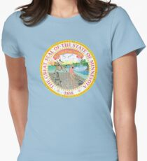 MINNESOTA STATE SEAL - POPULAR DISTRESSED STATE DESIGN WITH MINNESOTA STATE SEAL Women's Fitted T-Shirt